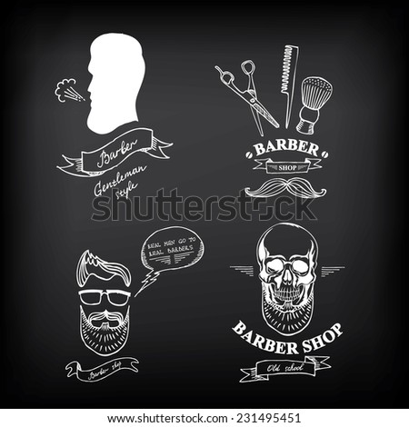 Barber shop labels vector icons