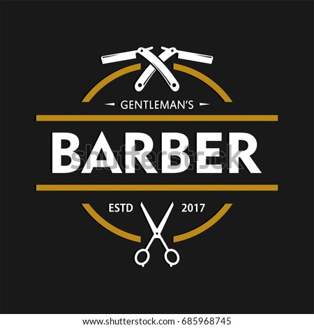 barber shop logo design template