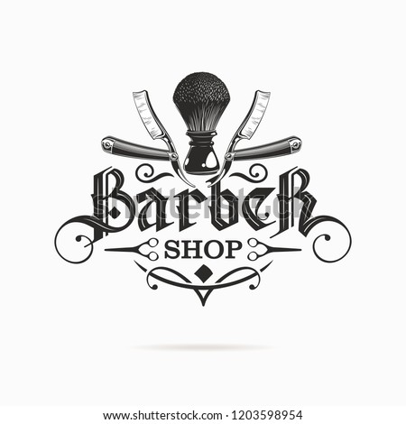 barber shop logo with gothic