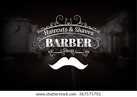 barber shop logo with muctache...