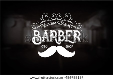 barber shop logo with mustache...