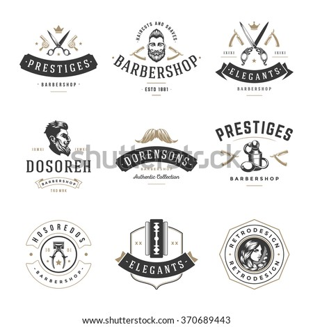 Barber Shop Logos Vector Templates Set. Labels, Badges and Design Elements.