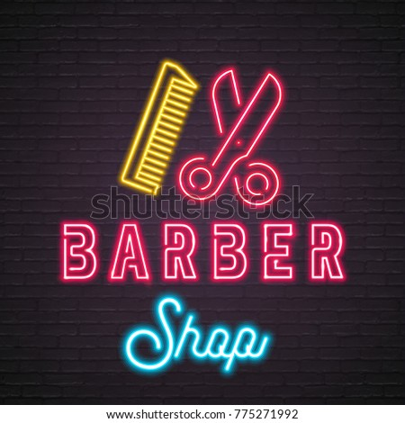 Barber Shop Neon Light Glowing Vector Illustration Scissors and Hair Brush Sign Illustration Design Blue and Yellow, Red Colour Bright