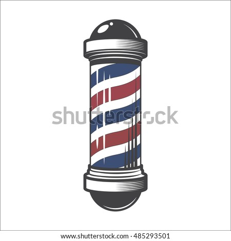 Barber Shop Pole Isolated on a White Background.