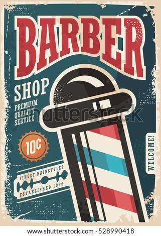 barber shop retro vector poster ...