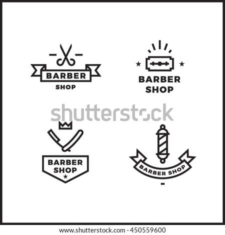 Barber shop vector logo set. Clean minimal retro badges.
