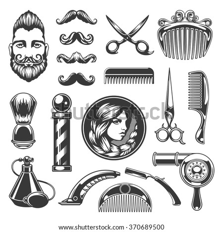barber shop vector silhouettes...