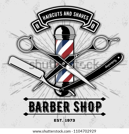 Barber shop vector vintage label, badge, or emblem on gray background. Vector template