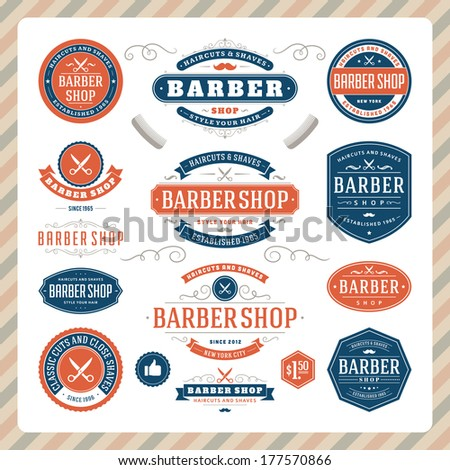 Barber shop vintage retro vector flourish and calligraphic typographic design elements
