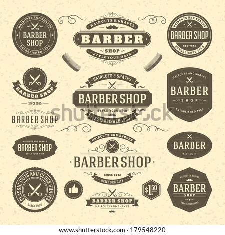 Barber Terms : Barber shop vintage retro vector flourish and calligraphic typographic ...