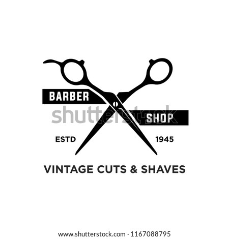 Barber shop vintage retro vector logo