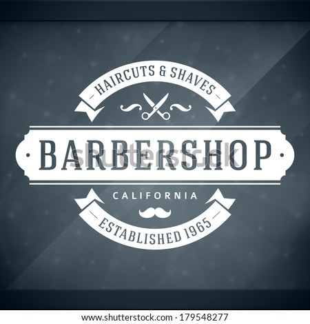 Barber shop vintage retro vector window advertising typographic design template
