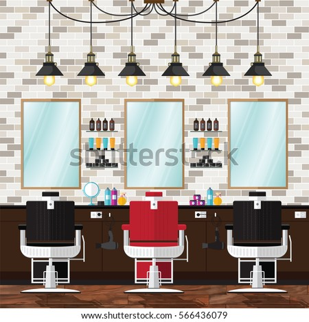Barber trimmed vector illustration. Stylish hair salon or barber shop design background concept.