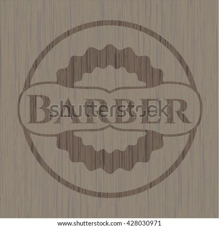 Barber wooden emblem. Vintage.