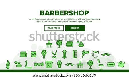 Barbershop Accessories Landing Web Page Header Banner Template Vector. Barbershop Accessories, Hairdressers Tools. Combs, Blow Dryer, Shaving Instruments, Professional Furniture Illustration