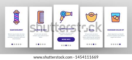 Barbershop Accessories Vector Onboarding Mobile App Page Screen. Barbershop Accessories, Hairdressers Tools Linear Pictograms. Combs, Blow Dryer, Shaving Instruments, Furniture Illustrations