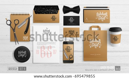 Barbershop brand identity mockup - vector realistic template. Barber shop stationery branding mockup and tools of  paper bag, gift card, envelope, business card, letterhead scissors, notepad