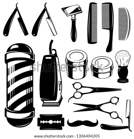 Barbershop collection tools vector.