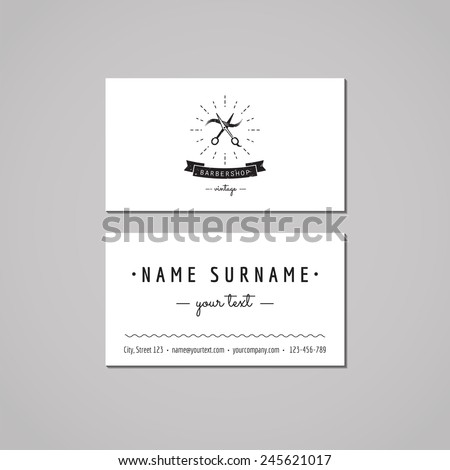 Barbershop (hair salon) business card design concept. Logo with scissors and a hair strand. Vintage, hipster and retro style. Black and white.