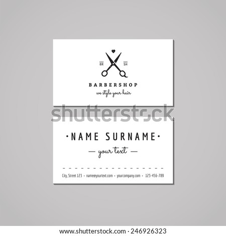 Barbershop (hair salon) business card design concept. Logo with scissors and heart. Vintage, hipster and retro style. Black and white.
