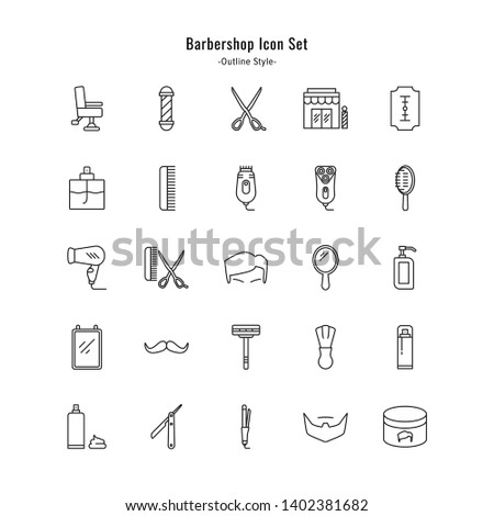 barbershop icons vector barbershop icon set. outline style icon