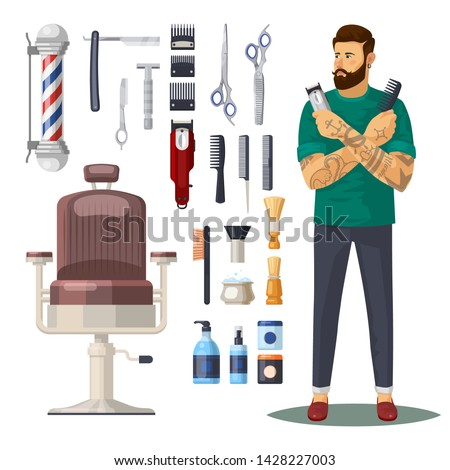 Barbershop items or icons, accessories. Man barber or hipster with beard and mustache, chair and barber pole, scissors and shaving foam, razor and hairbrush. Stylist and hairdresser saloon, shaver