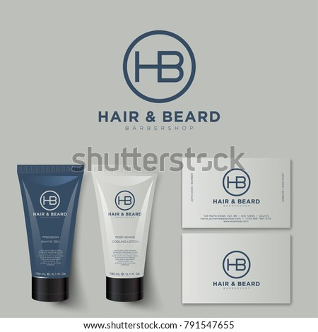 Barbershop logo and identity. H and B letters. Men's cosmetics logo emblem. Corporate style, envelope, letterhead, business card, tube cream mock up.