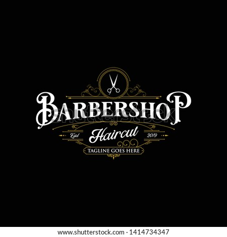 Barbershop logo design. Vintage lettering illustration on dark background.