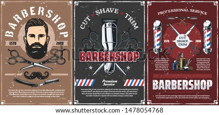 Barbershop professional men hairdresser salon vintage posters. Vector mustaches trim, shave and hair cut service, barber shop pole signage, scissors and razor blade, shaving brush and clipper