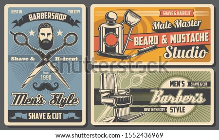 Barbershop service, shave and cut salon. Vector beard and mustache hairdressing studio, razor and armchair, hipster hairdresser. Men shaving, styling, scissors and cologne, gentlemen barber shop