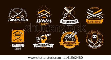 Barbershop, set of labels or emblems. Vector
