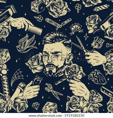 Barbershop vintage seamless pattern with roses diamonds bearded and mustached man head barber metal pole male hands holding straight razor scissors hair clipper and comb vector illustration