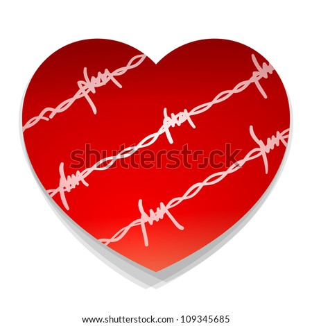 Barbwire Love Heart - Red heart illustration with barbwire silhouette around