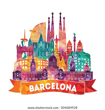 barcelona detailed silhouette
