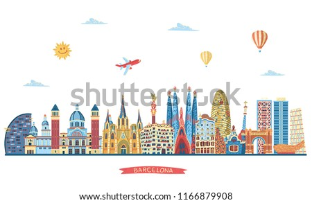 Barcelona detailed skyline. Travel and tourism background. Vector illustration