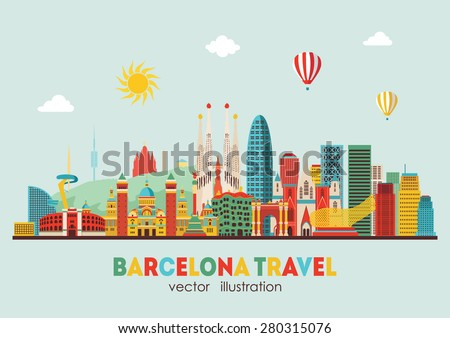 barcelona skyline detailed