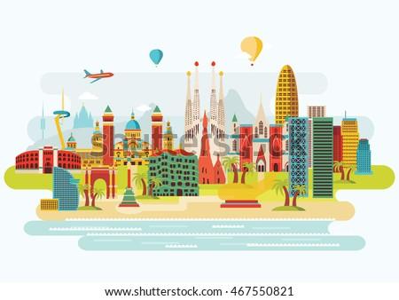 barcelona skyline detailed