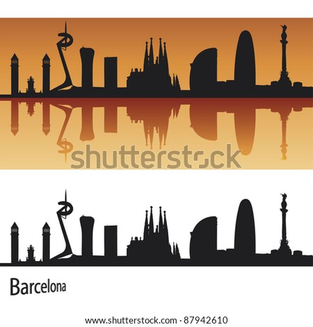 barcelona skyline in orange