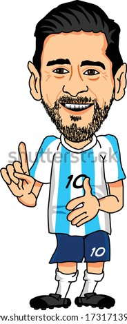 BARCELONA, SPAIN - MAY 15, 2020: Lionel Messi, an Argentine professional footballer. Vector Caricature