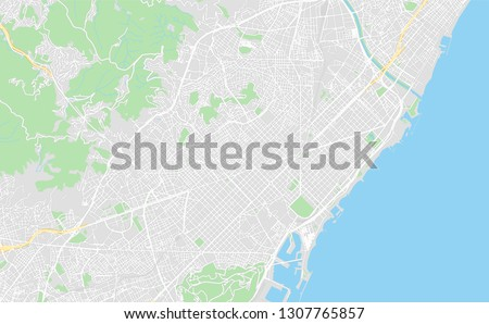 Barcelona, Spain, printable map, designed as a high quality background for high contrast icons and information in the foreground.
