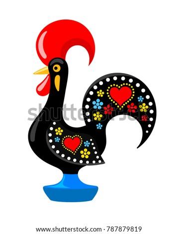 Barcelos portuguese rooster. Symbol of Portugal. Vector flat illustration.