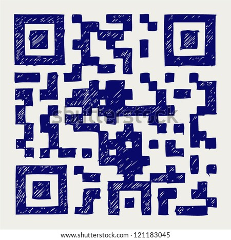 Barcode. Doodle style