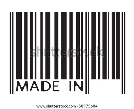 Barcode image with MADE IN letters - abstract illustration - stock vector