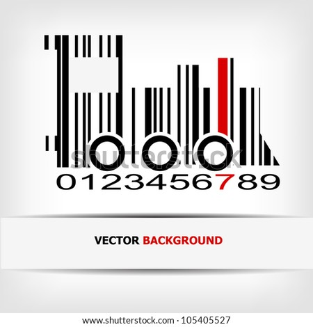 Barcode image with red strip - vector illustration