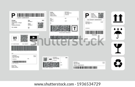 Barcode Label Delivery Template + Set of Cargo Icons, Fragile, Recycle, Stickers