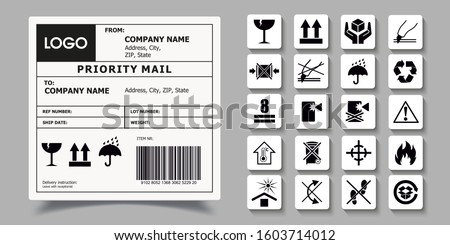 Barcode Label Delivery Template. SET OF PACKAGING SYMBOLS. Delivery Label Sticker Template