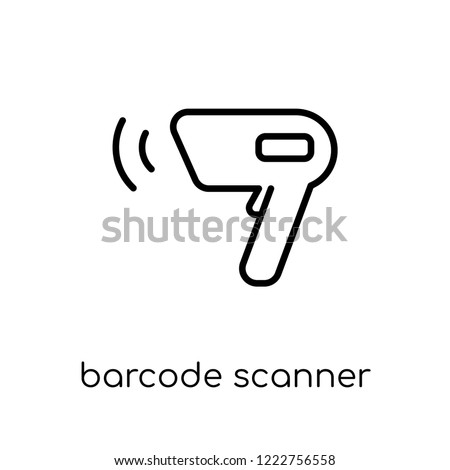 barcode scanner icon. Trendy modern flat linear vector barcode scanner icon on white background from thin line Electronic devices collection, outline vector illustration