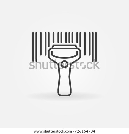 Barcode scanning linear icon. Vector bar code scanner concept symbol in thin line style