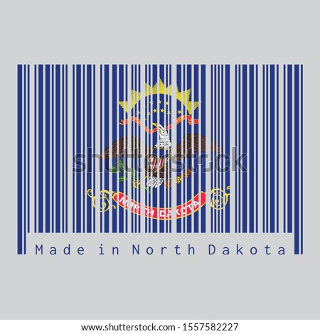 Barcode set the color of North Dakota flag, the states of America. Flag of the unit by state troops in the Philippine-American War. text: Made in North Dakota. Concept of sale or business.