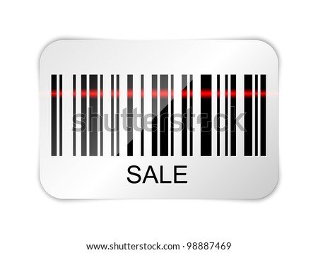 Barcode sticker with SALE tag. Vector